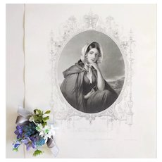 Antique Etching 19th - Victorian Female Portrait - After English Antique Oil Painting- Romantic Wall Art