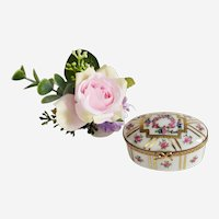 Vintage Trinket Box  Limoges Porcelain Miniature  Jewelry Box with Hand Painted Floral Decor Marie-Antoinette style
