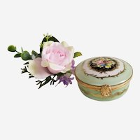 Hand Painted Porcelain Vintage Pill Box  Miniature Trinket Box Jewelry Box with  Floral Decor