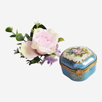 Vintage Pill Box in Limoges Porcelain with Hand Painted Floral Decor Miniature Trinket Box  Jewelry Box