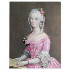 Marie-Antoinette style Portrait of a  Woman Watercolored Lithograph Print 19th