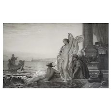 19th Romantic French Lithograph The Evenining