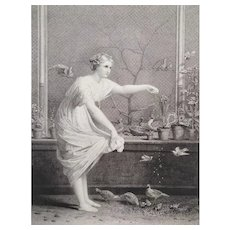 Original Etching Girl With Chicks Birds After Hamon 19th