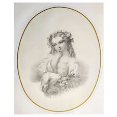 19th C Lithograph After Hugues Fourau Innocence