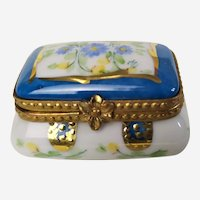 Miniature Trinket Box Limoges Porcelain  Vintage Pill Box Jewelry Box with Hand Painted Floral Decor