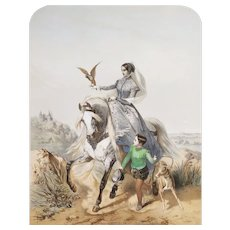 Horsewoman In Amazon Hunting With A Falcon Lithograph After Horace Vernet 19th c Horse Art