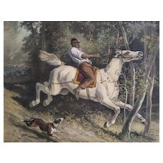 Horse Carried Away 19th c Watercolored Lithograph After Alfred De Dreux