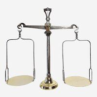 Scales of Justice, Antique Balance Scale made of Brass and Steel, French Antiques Furniture, 19th century Lawyer Gift Kitchen Décor