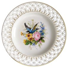French Porcelain Plate with Handpainted Floral Decor