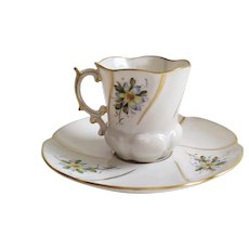 Antique Handpainted Porcelain Teacup and Saucer - Floral Decor - French Antique Limoges
