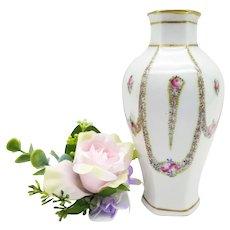Vase handpainted Porcelain  Floral Decor France