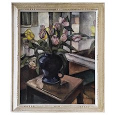 Oil Painting On Canvas Still Life Tulips By Reynold Vuilleumier Mid Century
