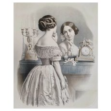 Original Watercolor Lithography Portrait of Victorian Woman  French Antique Print