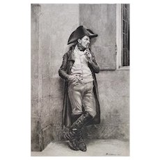 Military Original Etching Soldier Smoking after French Oil Painting by Meissonier