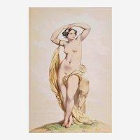 Antique Watercolored Lithographie Greek Mythology Erigone  Antique Lithograph By Achille Devéria Erotic Art