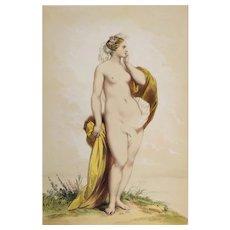 Antique Watercolor Lithographie Greek Mythology Cyane By Achille Devéria Erotic Art Nude Woman