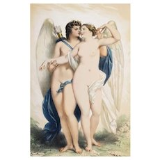 Antique Watercolor Lithographie Greek Mythology Nude Psyche and Cupid by Achille Devéria Erotic Art