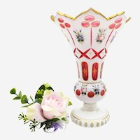 Antique Crystal Vase In Glass Overlay with Handpainted Floral Decor 19th C