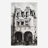 Architecture Etching by Octave De Rochebrune French city La Rochelle  19th c