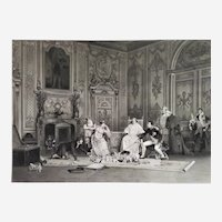 Antique Historical Etching Napoleon And Josephine The Repetition Of The Coronation dated 1896