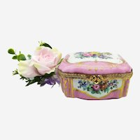 Antique Limoges Porcelain Jewelry Box with Handpainted Floral Decor