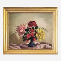 Antique Oil  Painting By Belgian Painter Still Life With Flowers Roses