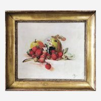 Antique Oil Painting Still Life Strawberries And Apples Victorian Style