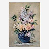 Antique Still Life Flower Lilacs  Watercolour Gouache Victirian Style 19th century