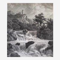 Antique Etching Landscape Switzerland Waterfall 19th C
