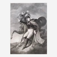 Antique Print Etching Rider With His Horse After French Military Oil Painting By Théodore Géricault War Napoleonic Battle