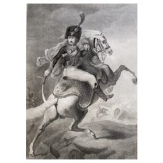 Antique Print Etching Rider On His  Horse After French Military Oil Painting By Théodore Géricault