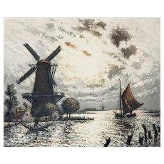 Dutch Landscape Engraving Aquatint By Arsène Chabanian