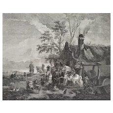 Antique Etching Landscape The Blacksmith Horse After Wouvermens 18th c