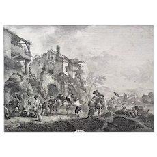Antique Etching Landscape Horse after a Dutch Oil Painting 18th c