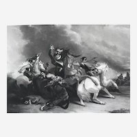 Antique Historical Etching Battle Of Zutphen After Military English oil Painting War Prints 19th c