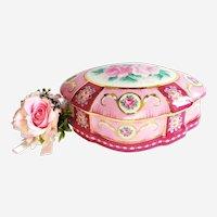 Antique Jewellery box in Handpainted Porcelain Limoges Floral Decor