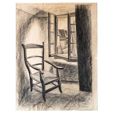 Antique Drawing French House Mid Century Style