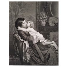 Antique Engraving Victorian Portrait Of A Woman With Child After Auguste Toulmouche 19th C