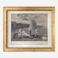 Antique Etching Neoclassical Engraving After French Oil Painting by Mallet Love Leads Them 19th C