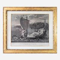Antique Etching Neoclassical Engraving After French Oil Painting by Mallet Friendship Brings Them Back