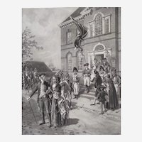 Americana Historical Military Antique Photogravure New York City Brodway after American Painter Ogden