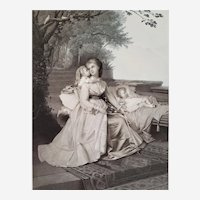 Antique  Romantic Etching Maternity 19th Engraved After Brochart