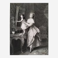 Antique Etching  Mother Child  Engraving After French  Painting By Brochart 19th c Victorian Style