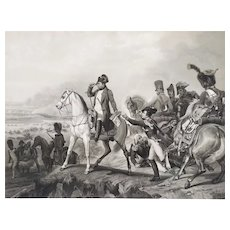 Antique Etching Napoleon Bonaparte on Arab Horse at the Battle of Wagram Engraving by Jazet after Oil Painting by Horace Vernet 19th c