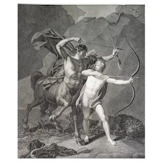 18th C.Antique Engraving Greek Mythology The Education Of Achilles By The Centaur Chiron After Regnault Neoclassic Style