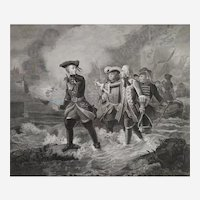 Antique Etching Historical Battle Charles XII Carl Of Sweden Engraving After Oil Painting 19th Century