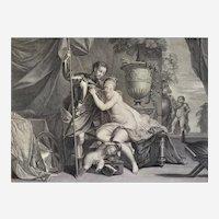 Antique Etching Greek Mythology Venus And Winner 18th c Engraving