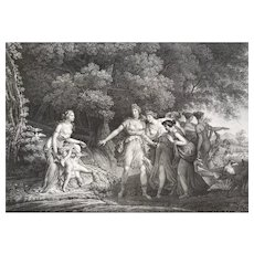Antioque Lithographie 19th c Greek Mytology Deception Of Venus