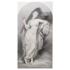 Greek Mythology Hebe Goddess Of Youth Etching 19th c