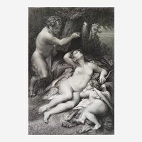 Antique Mythological Etching Nymph Surprised By A Satyr After Correggio 19th c